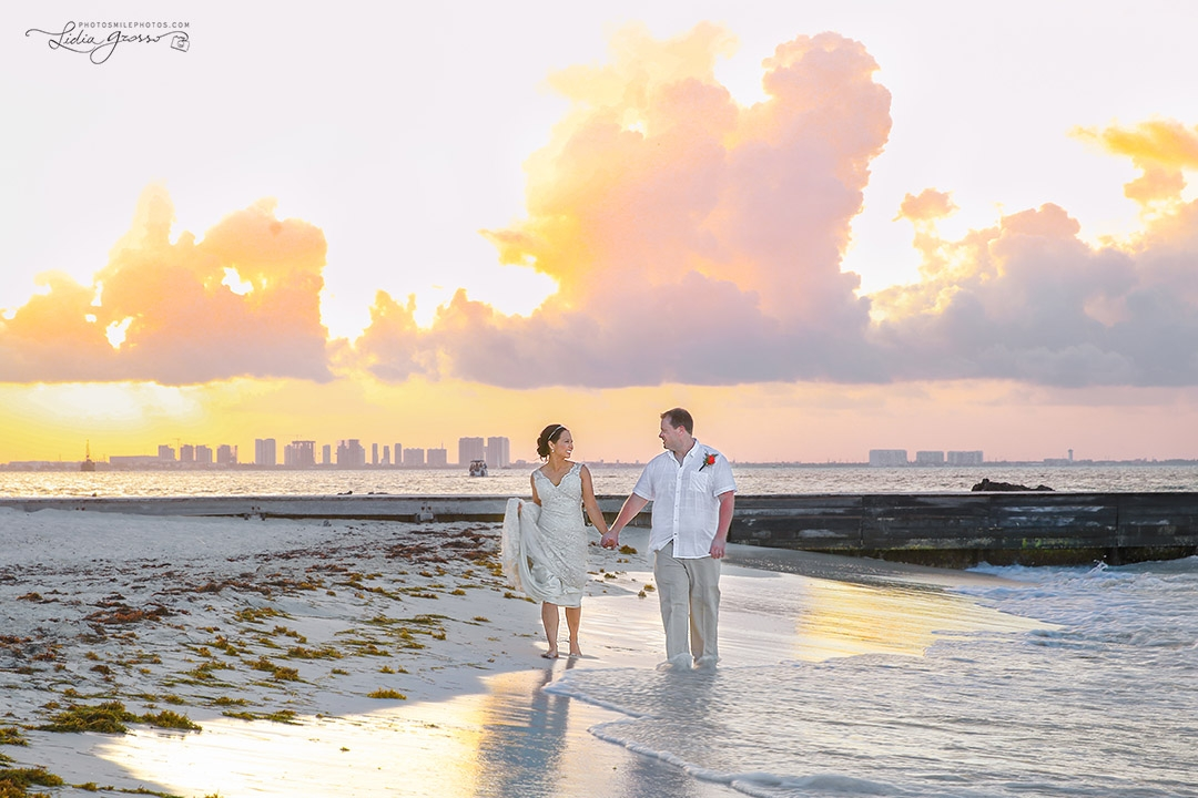 Wedding photography Riu Cancun Sunset