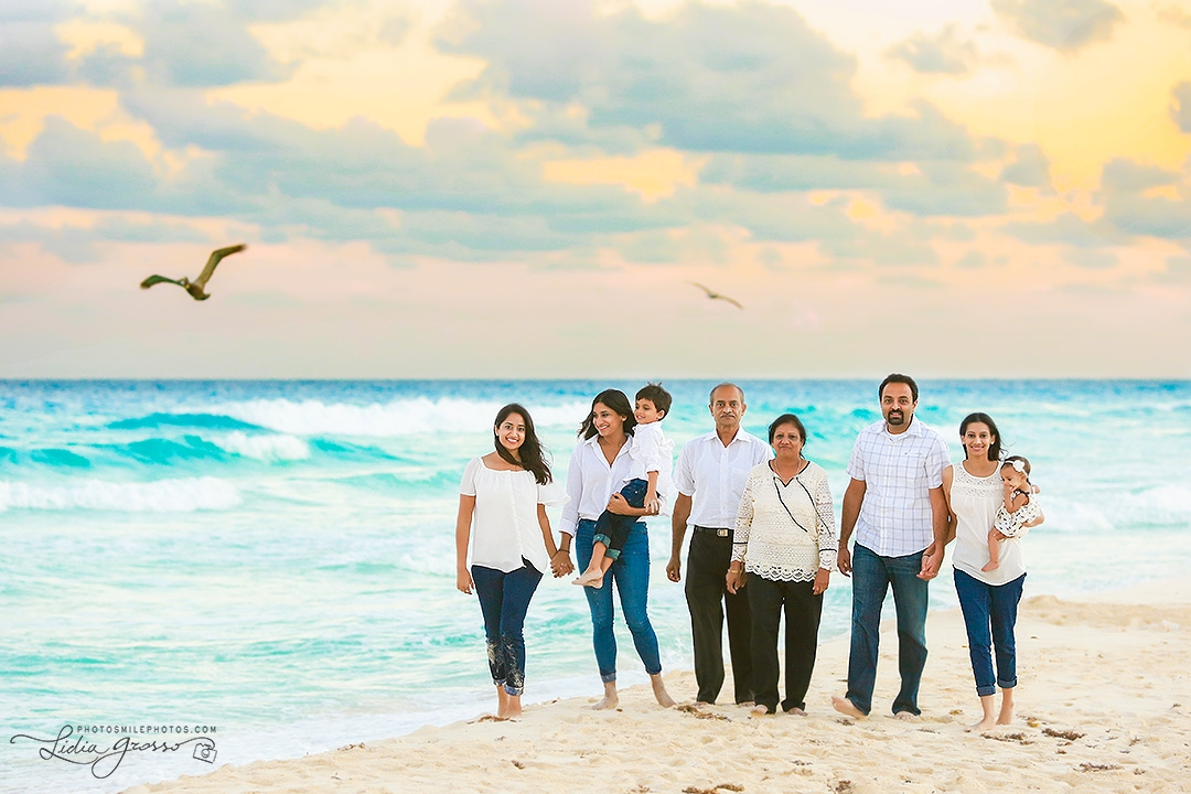 Cancun beach family portrait