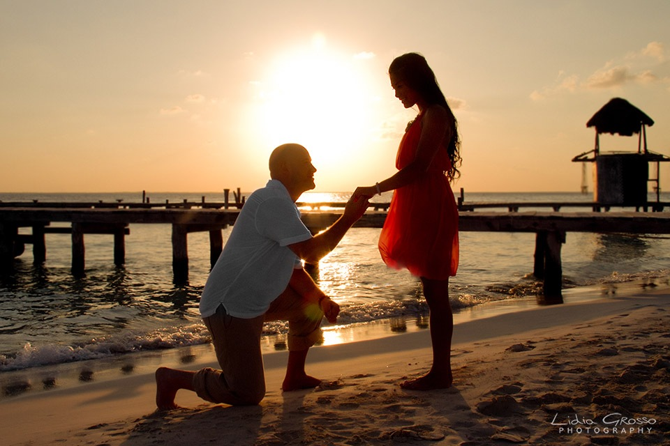 Beach proposals sunset Isla Mujeres, Cancun Mexico