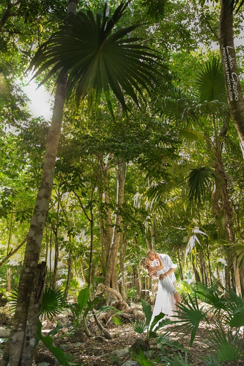 Jungle cenote after wedding photo session