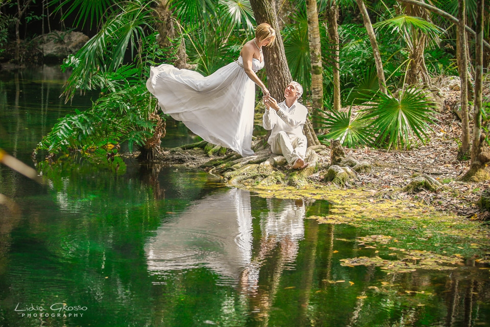 Trash the dress cenote sessions Riviera Maya