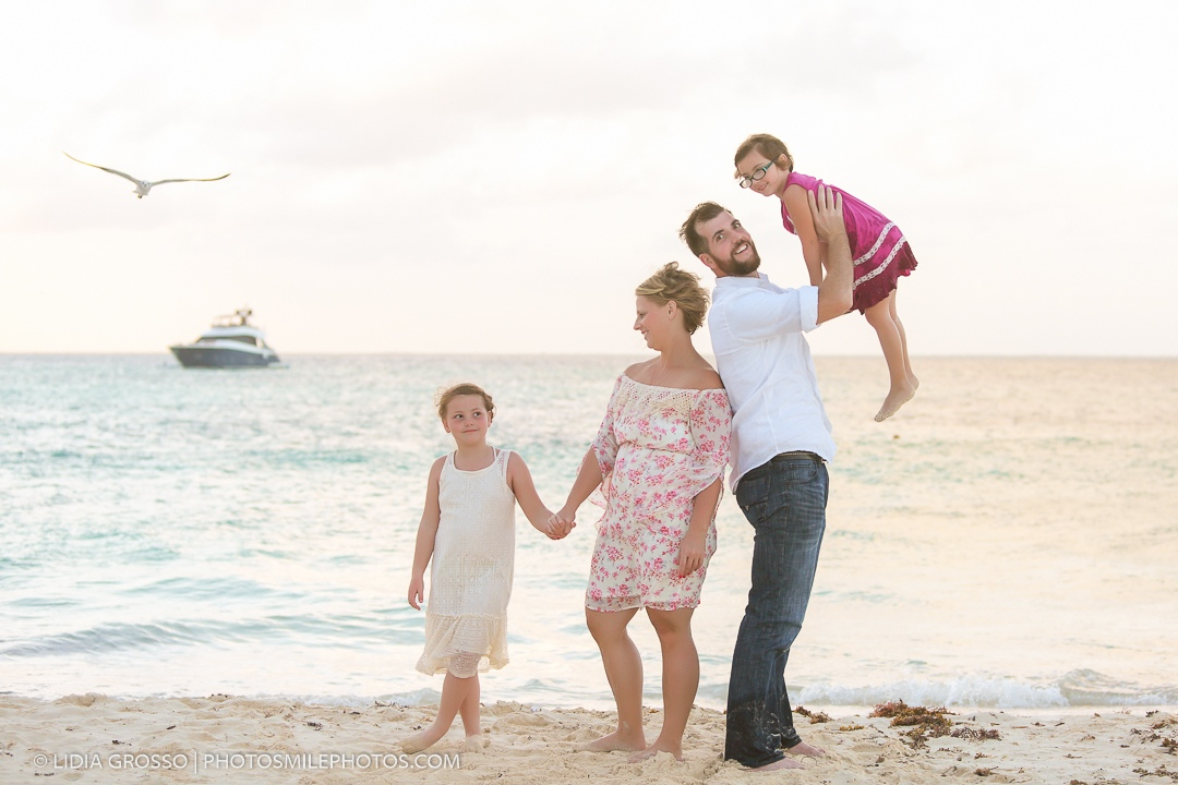 Family photography Isla Mujeres sunset