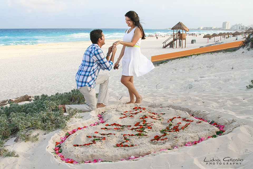 Surprise Proposal Cancun Beach