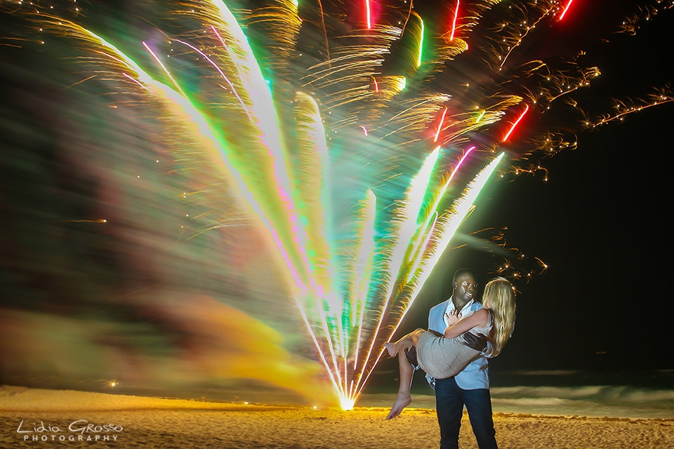 Hard Rock Resort Fireworks Wedding Proposal Cancun