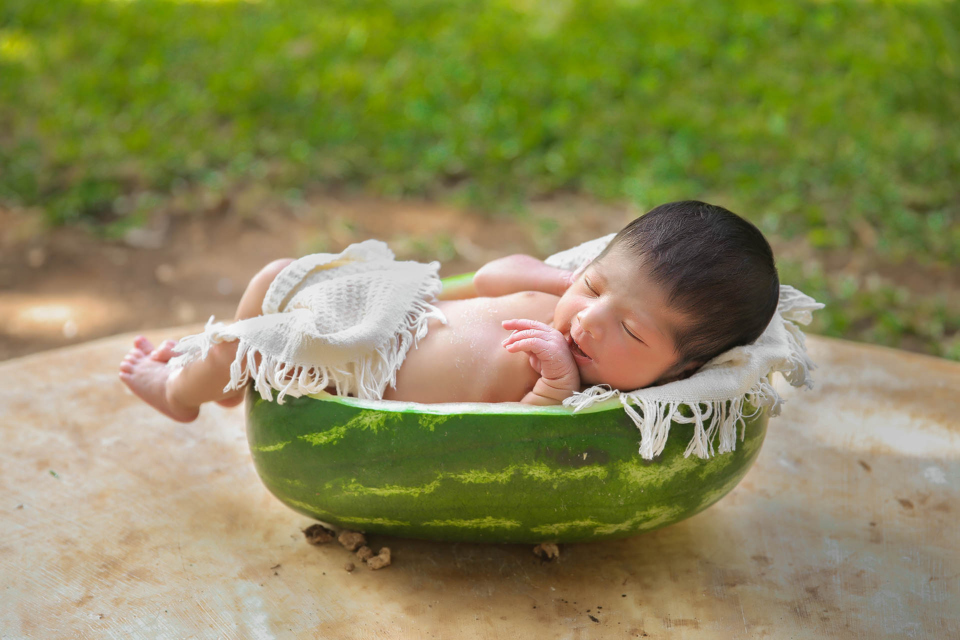 Newborn photography cancun baby in watermelon, fotografia de